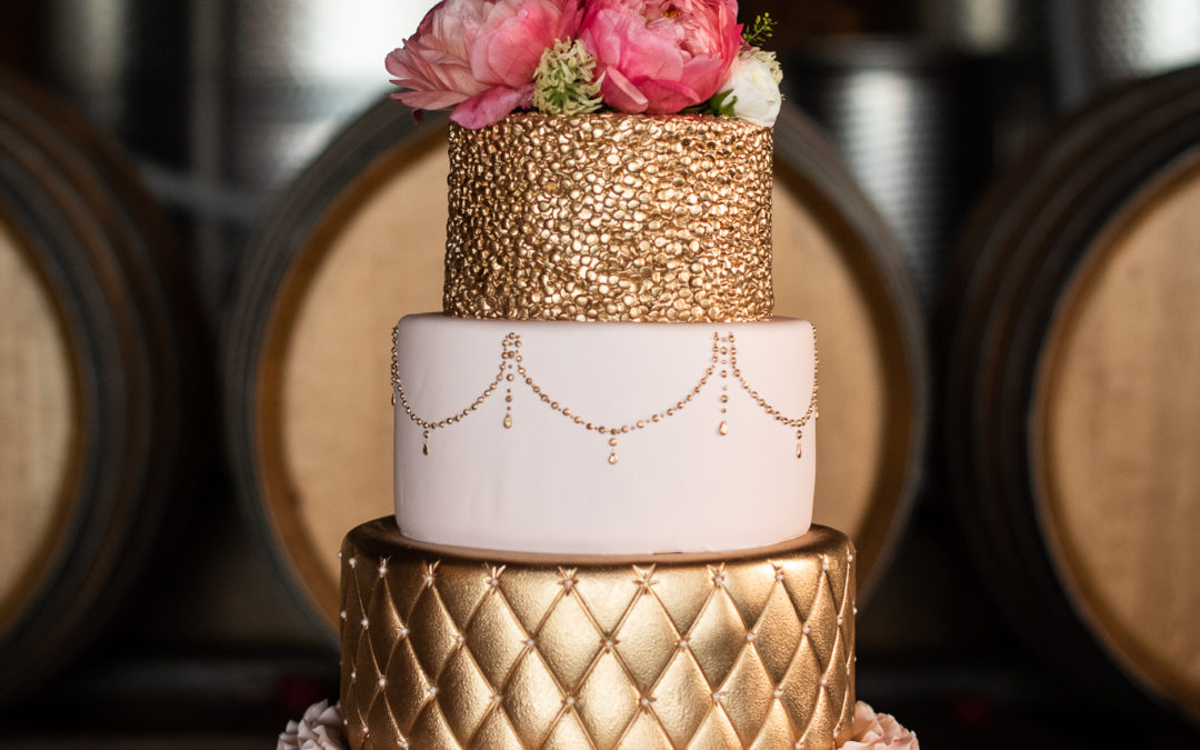 Michele and John's Blush and Gold Wedding Cake