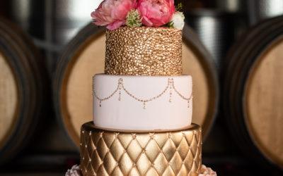 Michele and John's Blush and Gold Wedding Cake