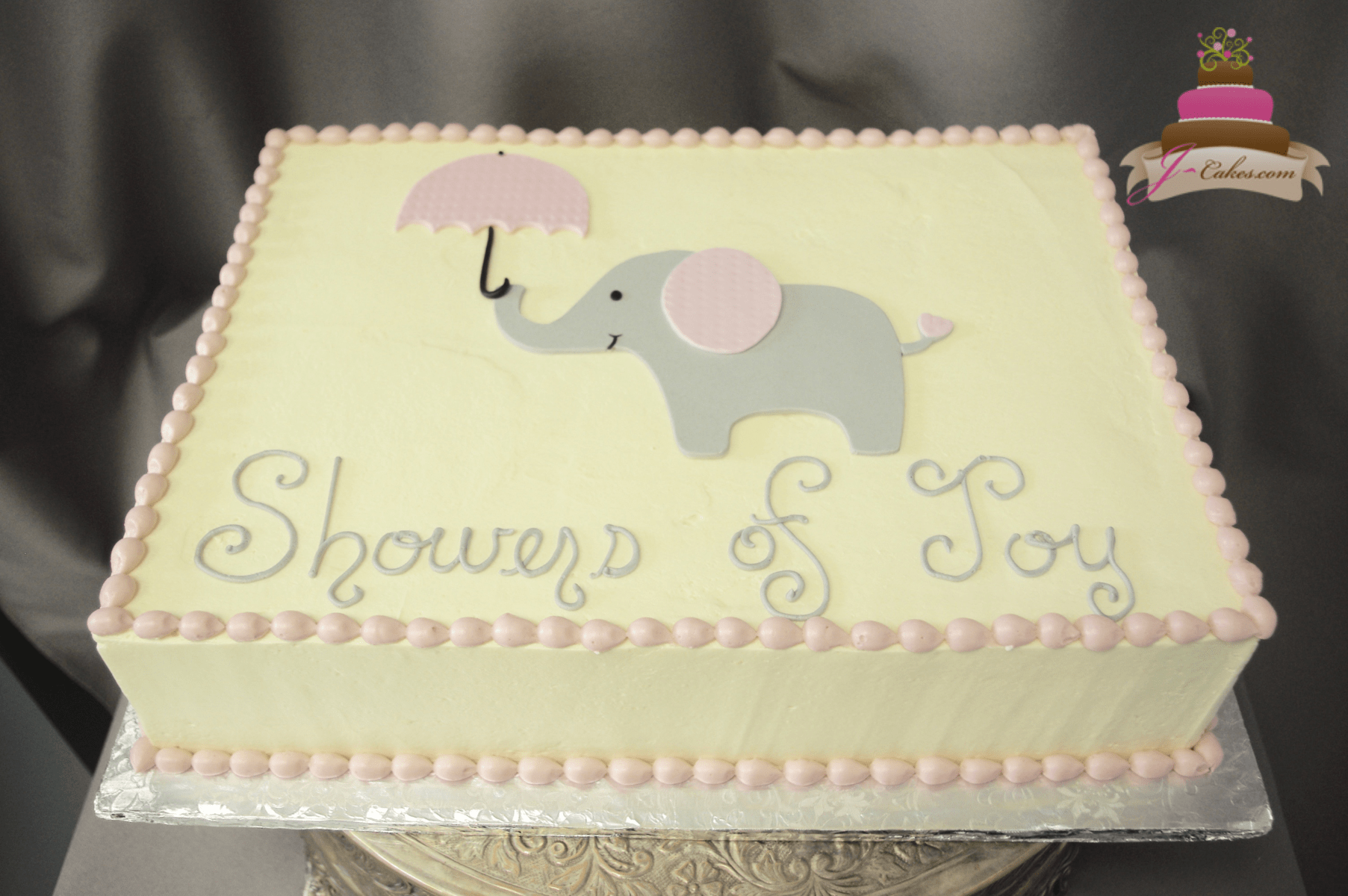 (247) Flat Elephant Baby Shower Cake