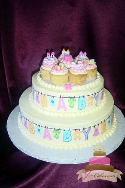 (202) Clothesline Baby Shower Cake with Cupcakes