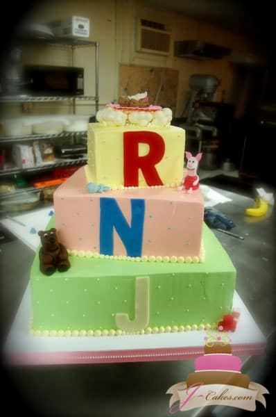 (209) Baby Shower Cake with Fondant Figures and Monogram