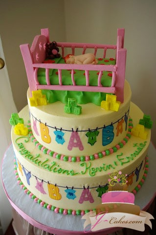 (212) Clothesline Baby Shower Cake with Crib Topper