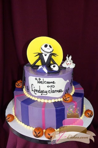 (214) Nightmare Before Christmas Baby Shower Cake