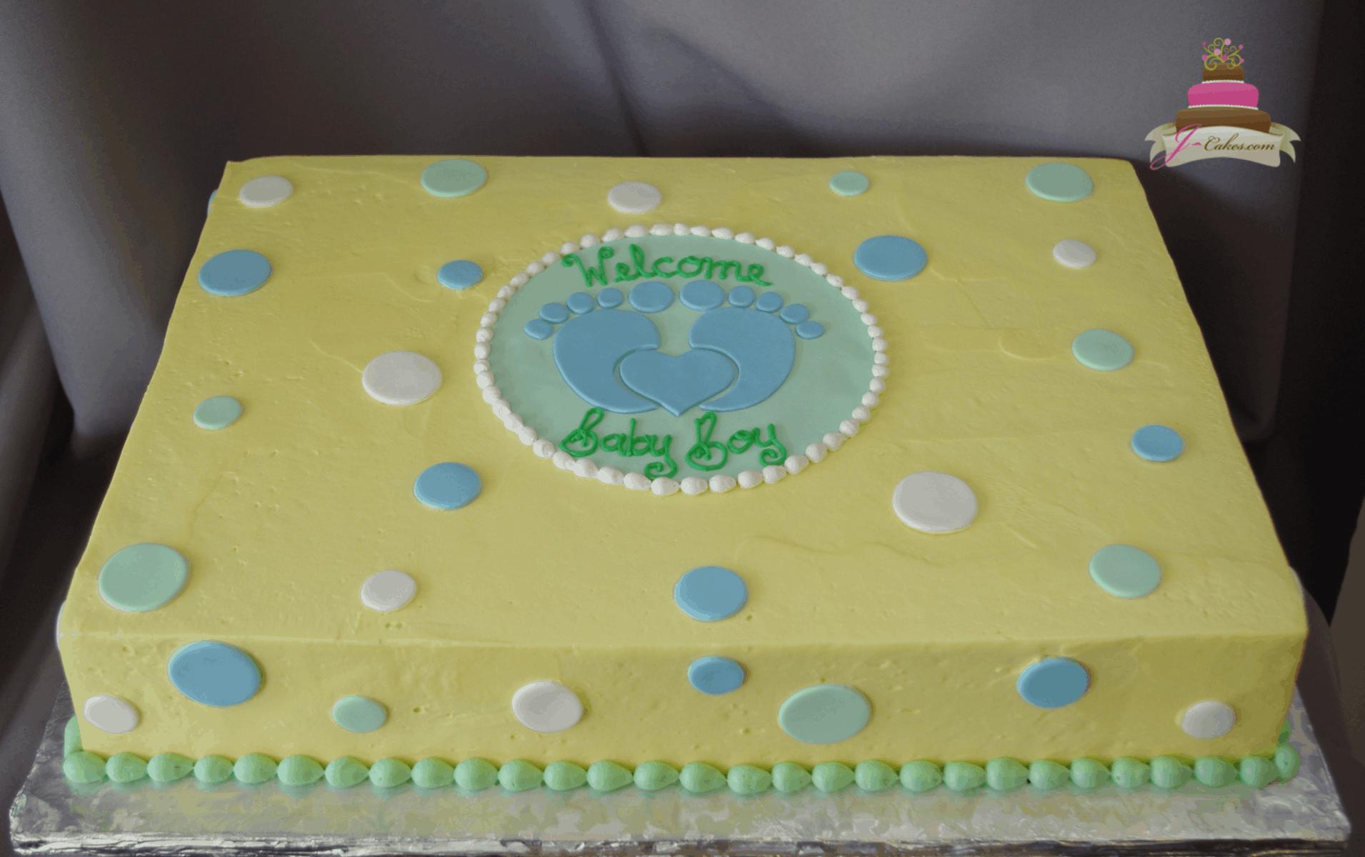 (243) Baby Footprint Shower Cake