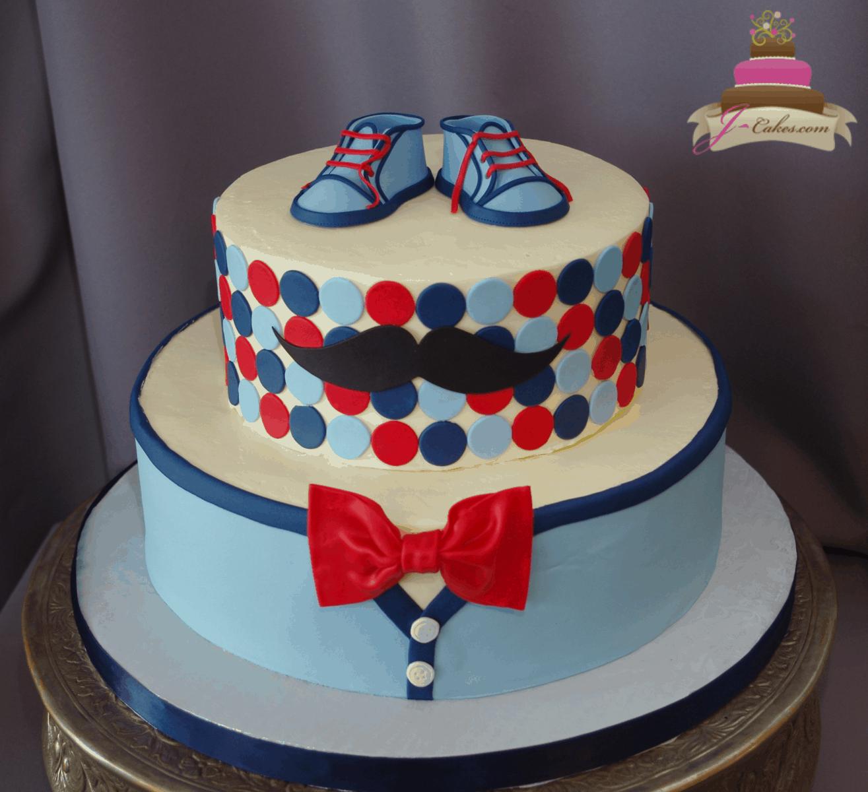 (244) Little Man Baby Shower Cake