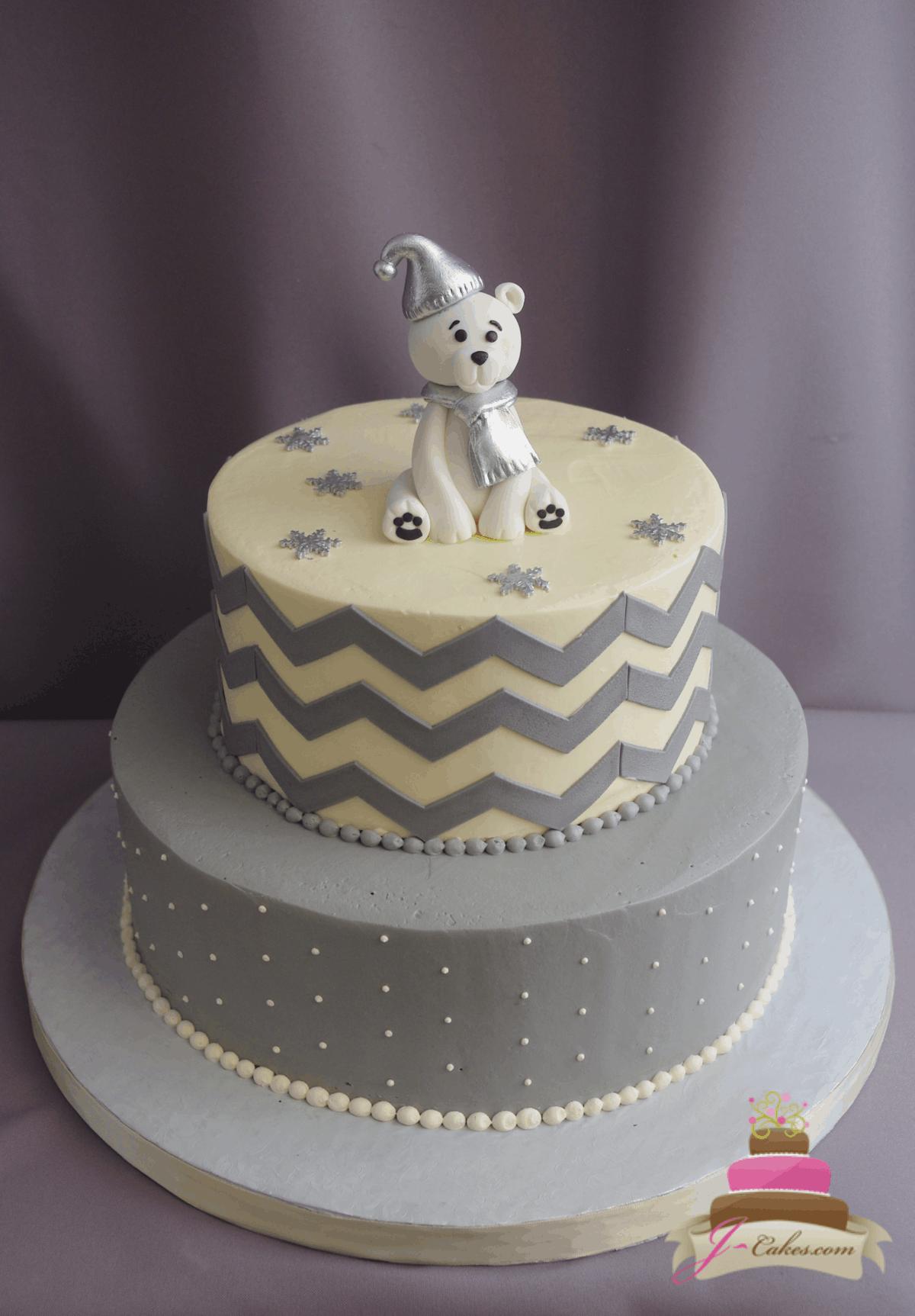 (246) Polar Bear Baby Shower Cake