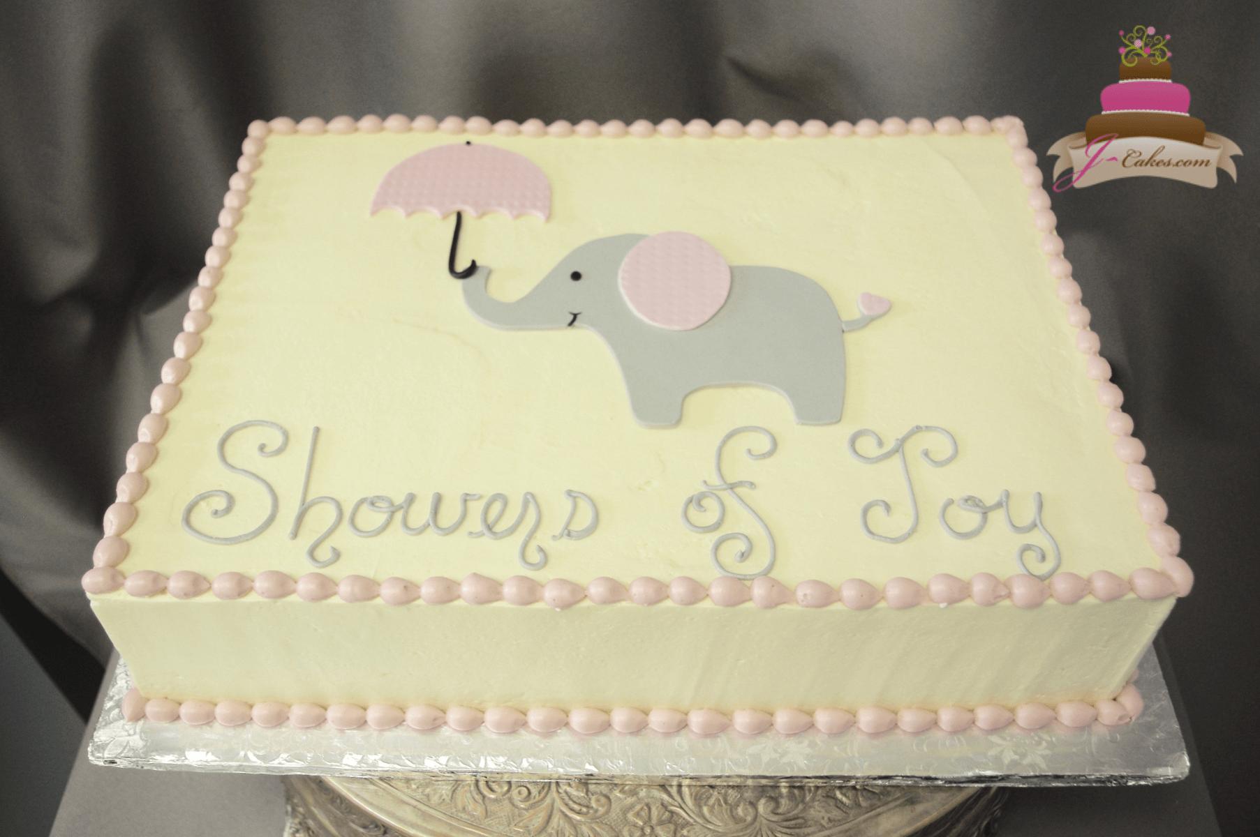 (247) Flat Elephant Baby Shower Cake