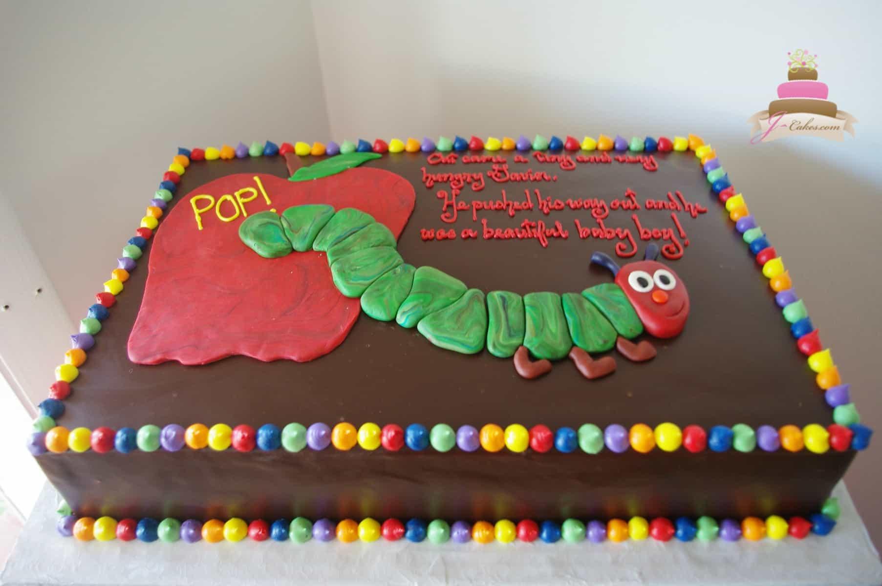 (224) Caterpillar Baby Shower Cake