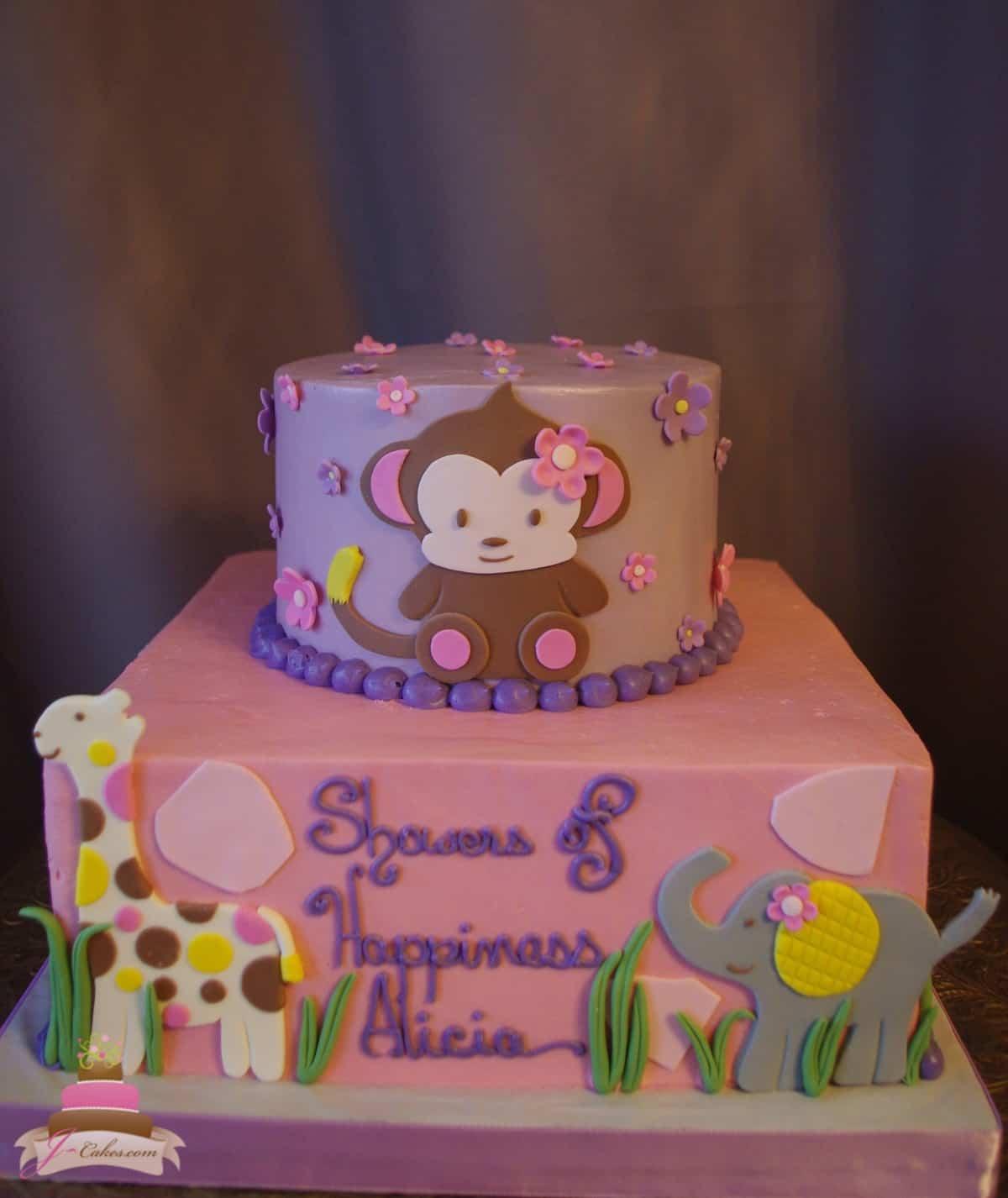 (228) Jungle Theme Baby Girl Shower Cake