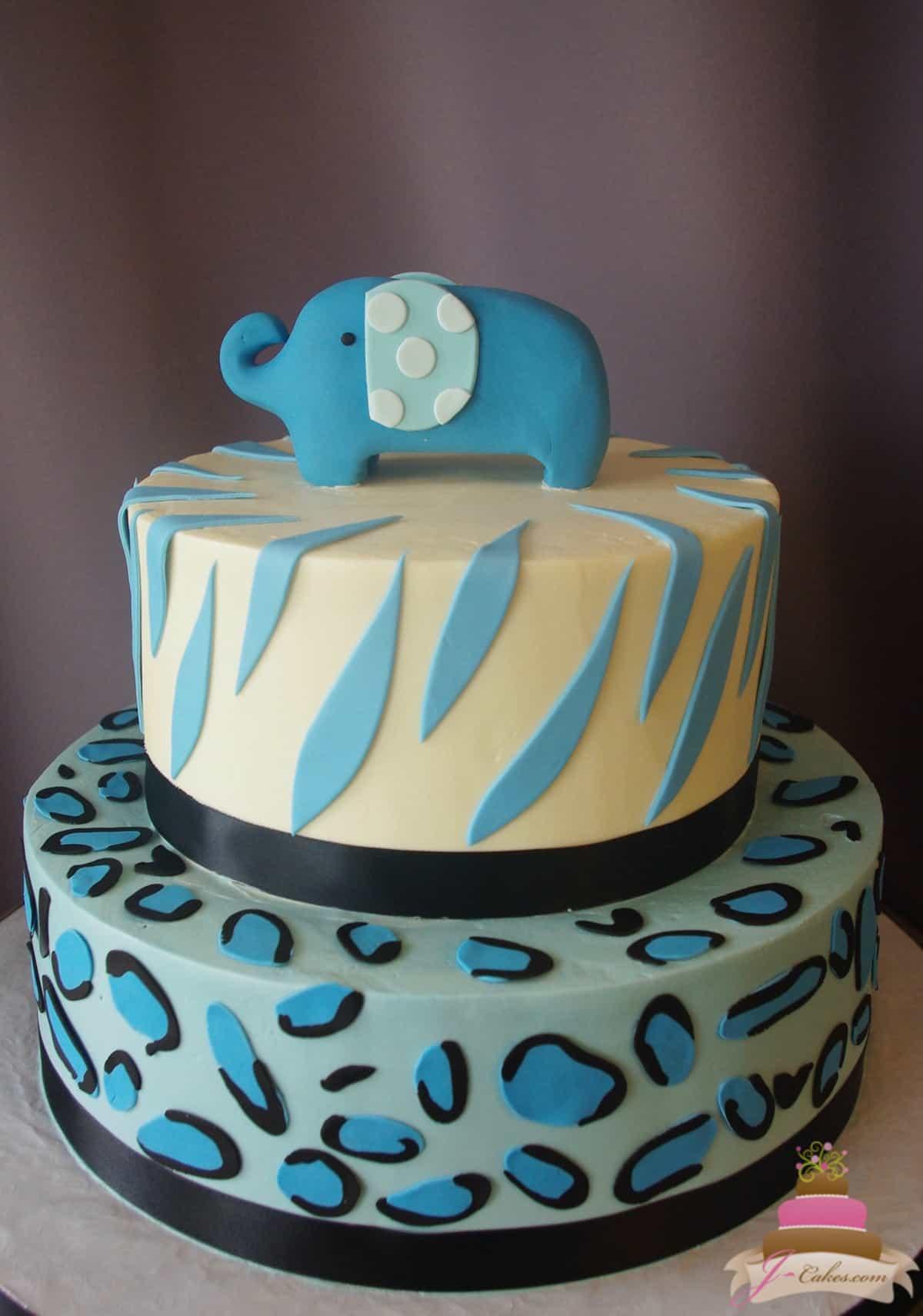 (230) Animal Print Baby Boy Shower Cake
