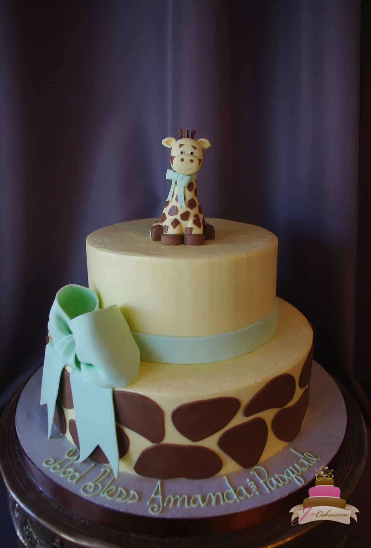 (233) Giraffe Theme Baby Shower Cake