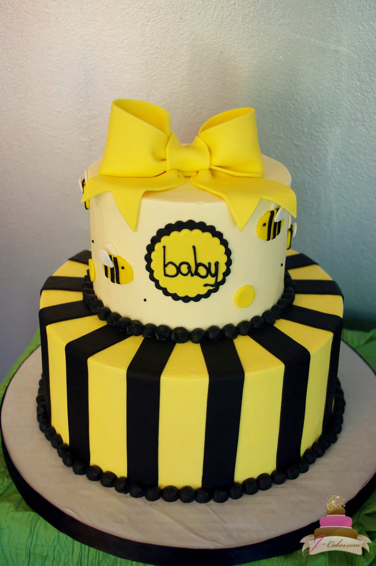 (226) Bumble Bee Theme Baby Shower Cake