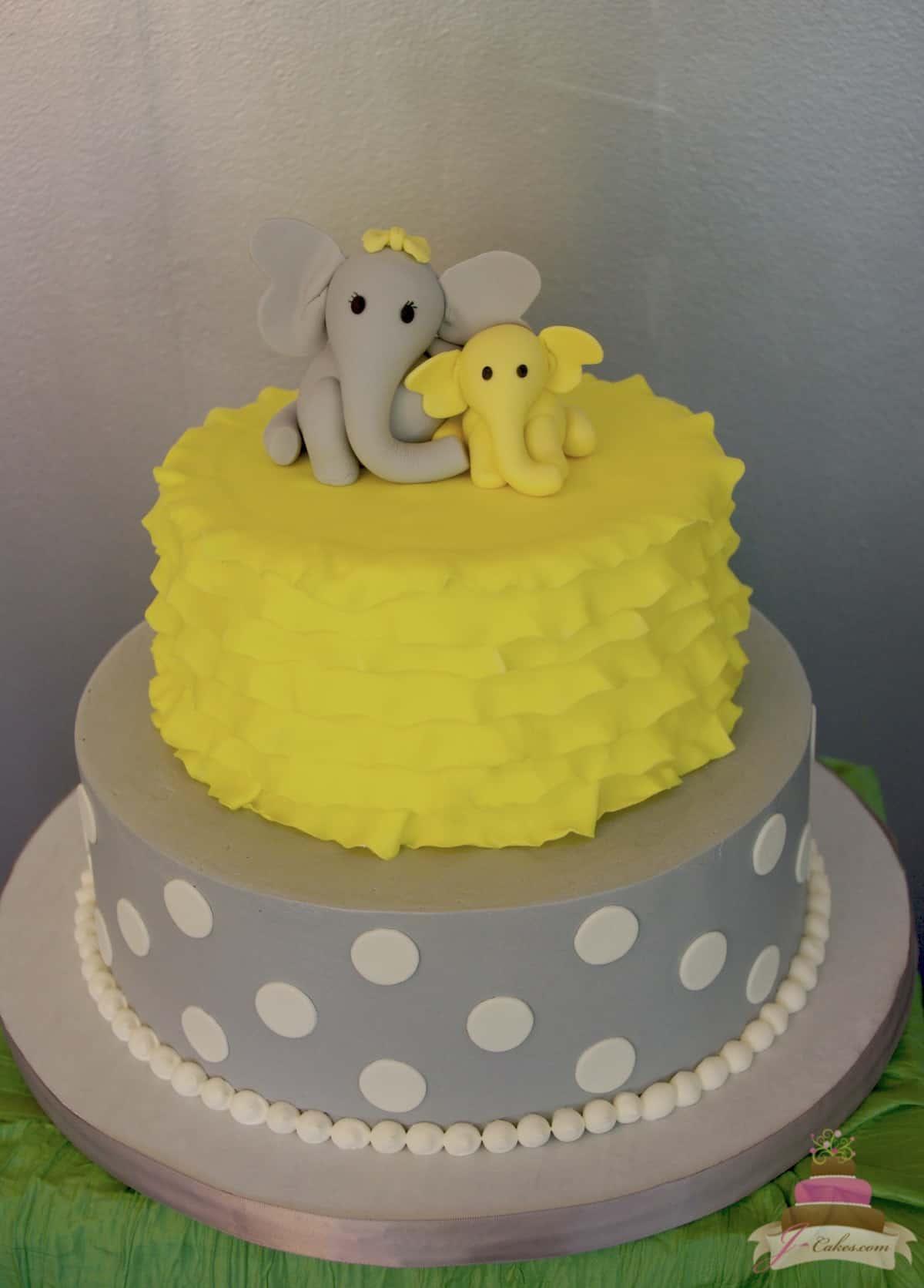 (227) Elephant Baby Shower Cake