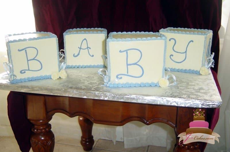(201) Baby Block Shower Cake
