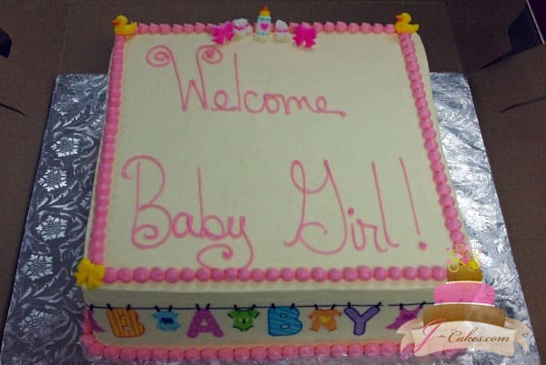 (204) Pink Baby Clothesline Baby Shower Cake