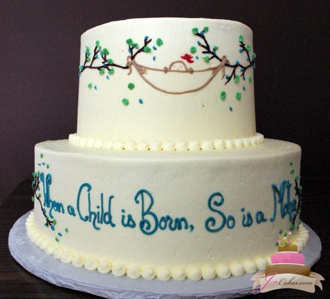 (206) Baby Shower Cake with Custom Piping