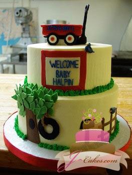 (210) Wagon Baby Shower Cake