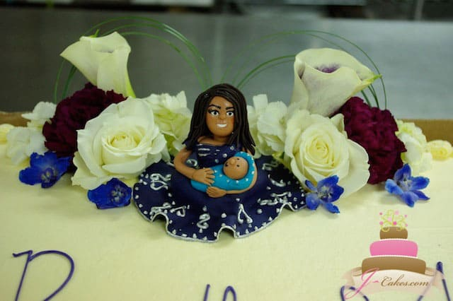 (218) Baby Shower Cake with Fondant Mother and Child