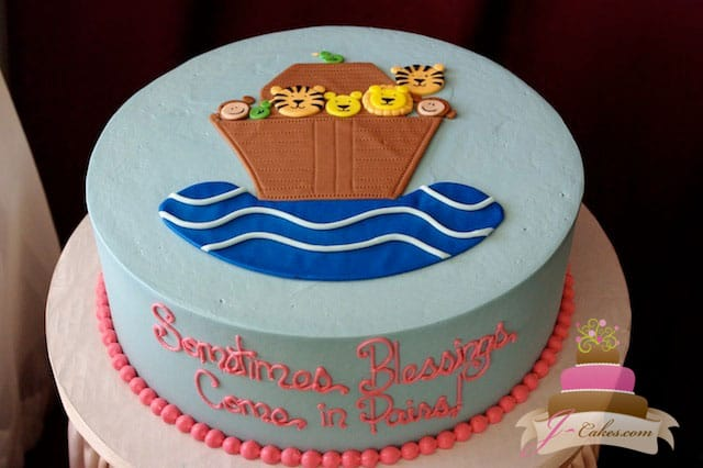 (220) Noah's Ark Baby Shower Cake