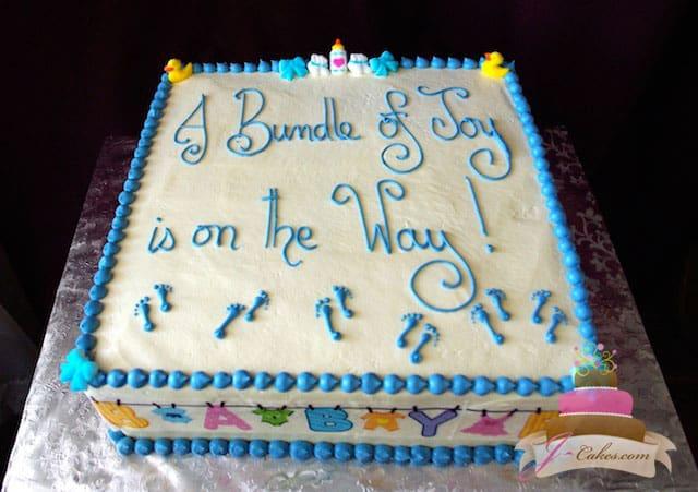 (222) Blue Baby Clothesline Baby Shower Cake