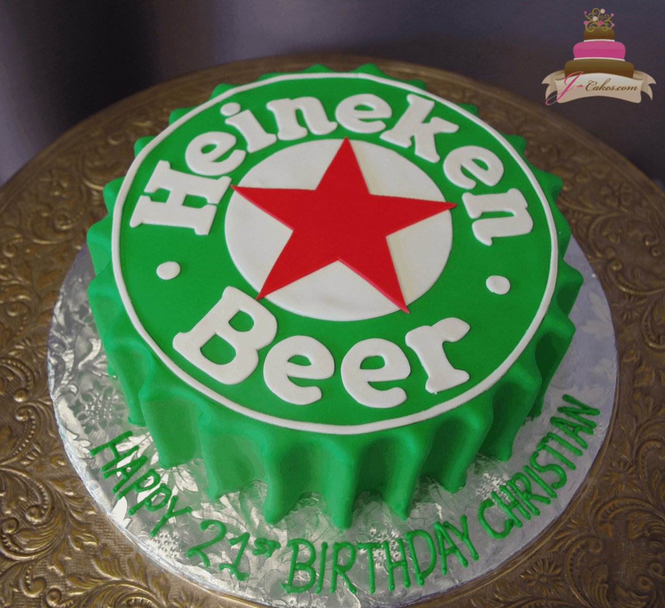 (190) Heineken Bottle Cap Cake