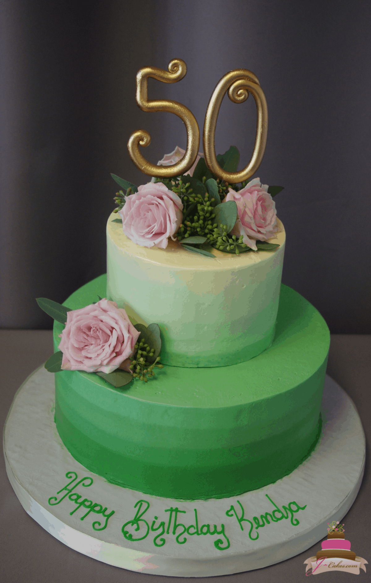 (192) Green Ombre Cake