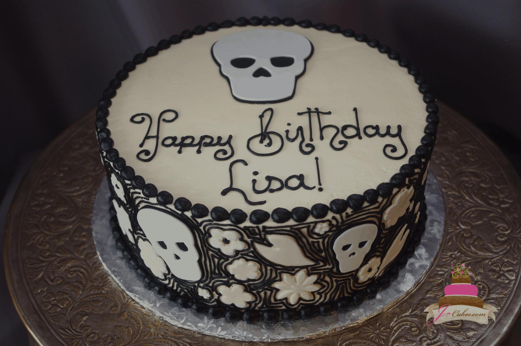 (194) Skull Birthday Cake