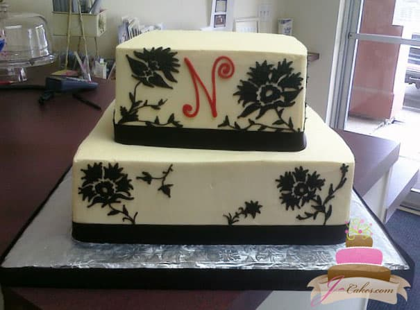 (101) Black Floral Damask Birthday Cake