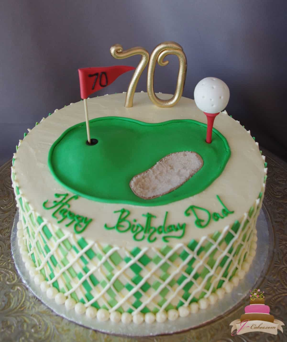 (169) Golf Theme Birthday Cake
