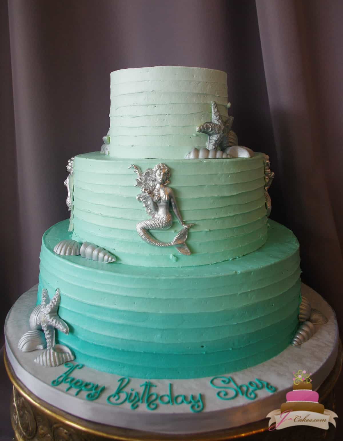 (179) Elegant Mermaid Birthday Cake