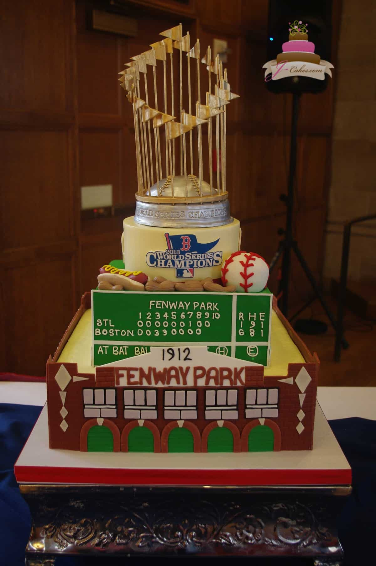 (162) Red Sox Theme Birthday Cake