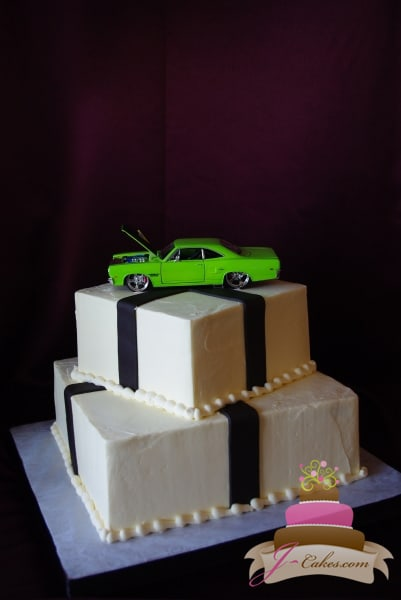 (104) Vintage Car Theme Birthday Cake
