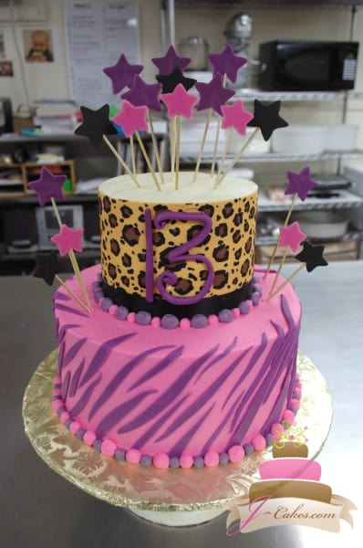 (107) Animal Print 13th Birthday Cake