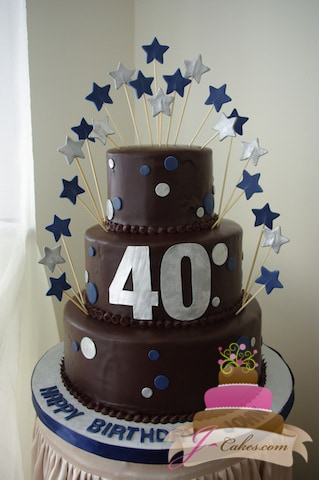 (113) Dots & Stars 40th Birthday Cake