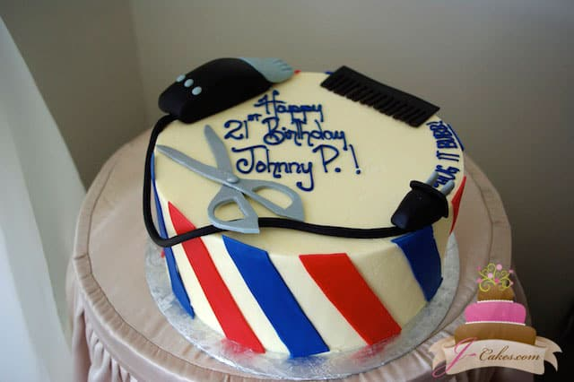 (114) Barber Shop Birthday Cake