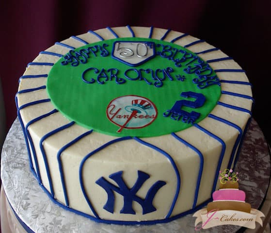 (137) NY Yankees Theme Birthday Cake