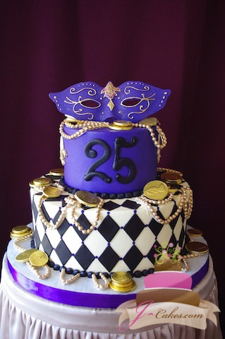(138) Mardi Gras Theme Birthday Cake