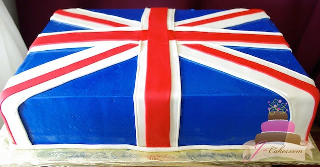(143) UK Flag Birthday Cake