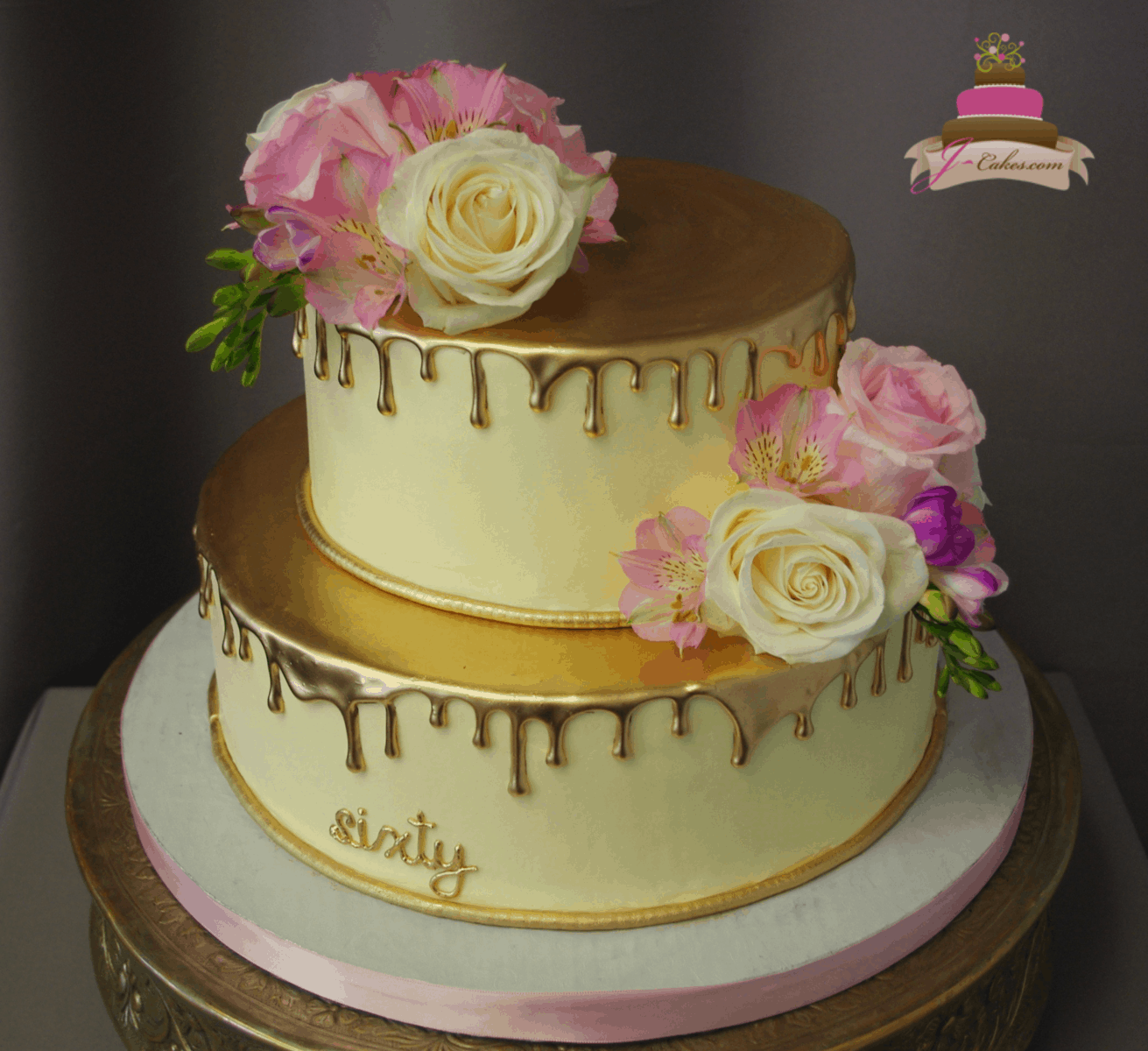 (197) Gold Drip Cake