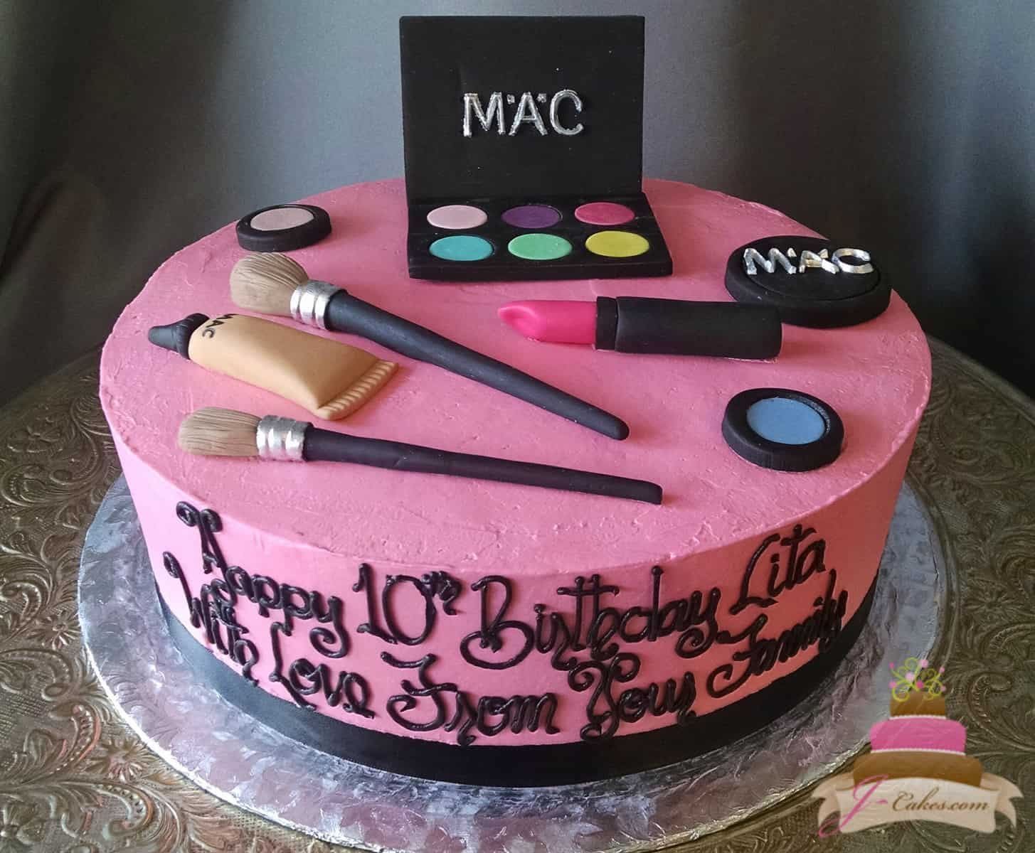 (168) Make-Up Theme Birthday Cake