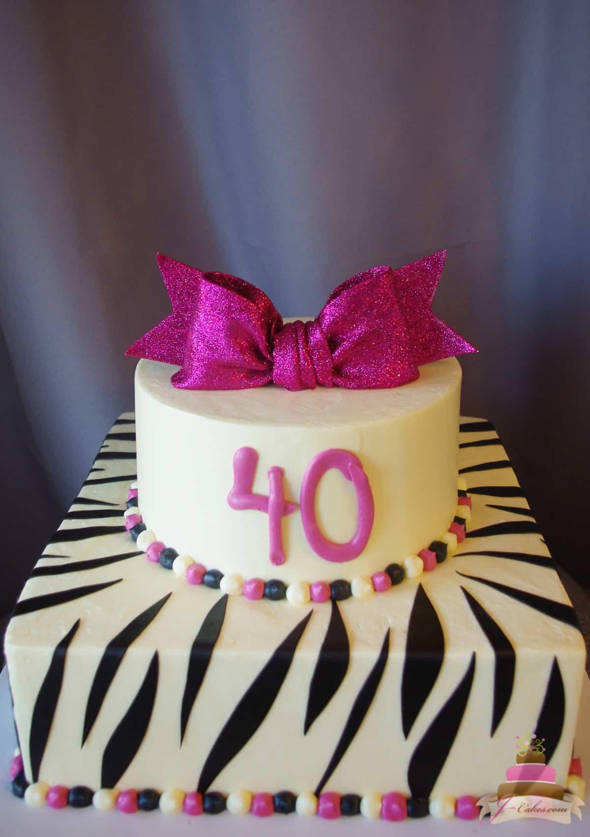 (167) Zebra and Fuschsia 40th Birthday Cake