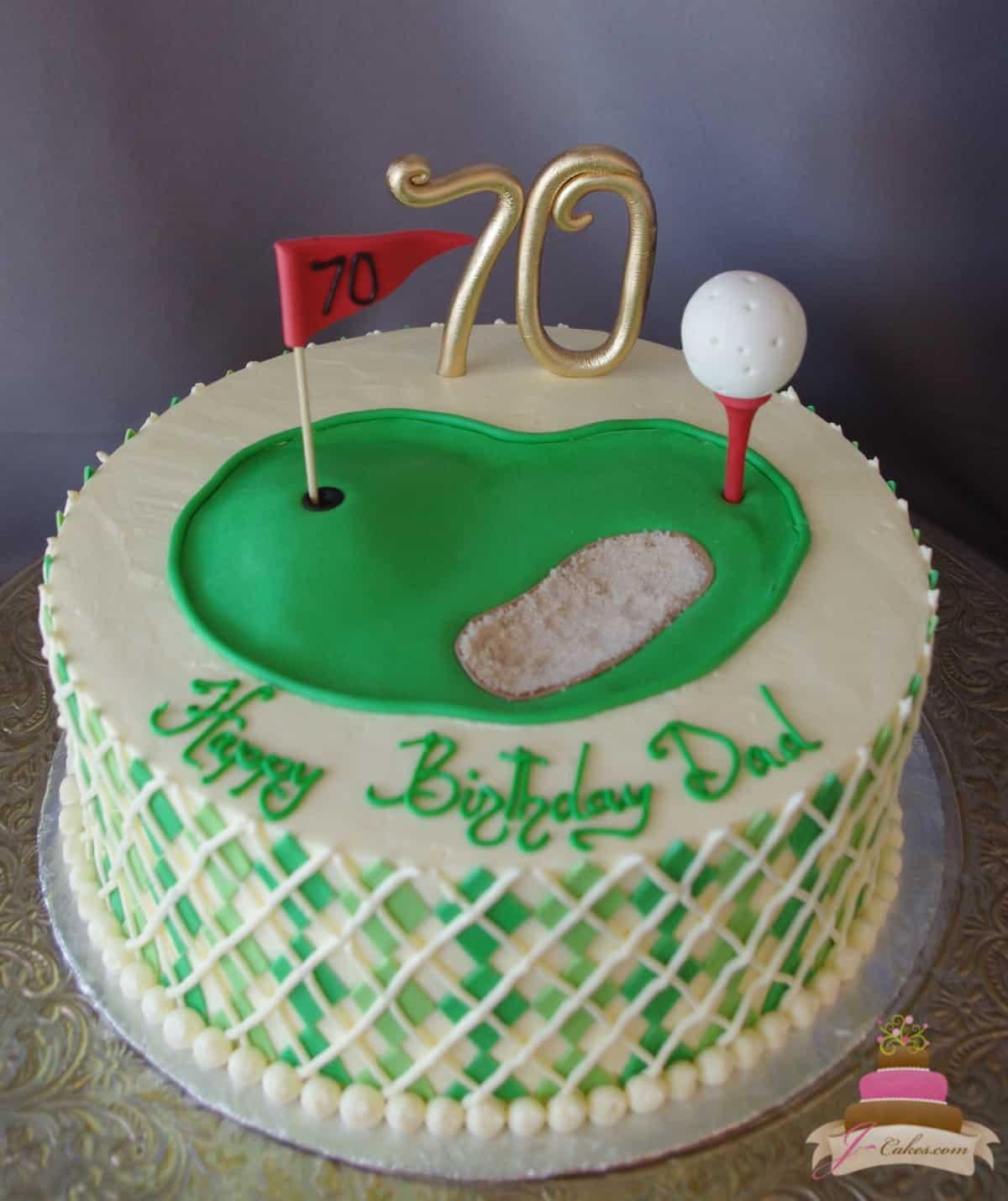 (169) Golf Theme Birthday Cake