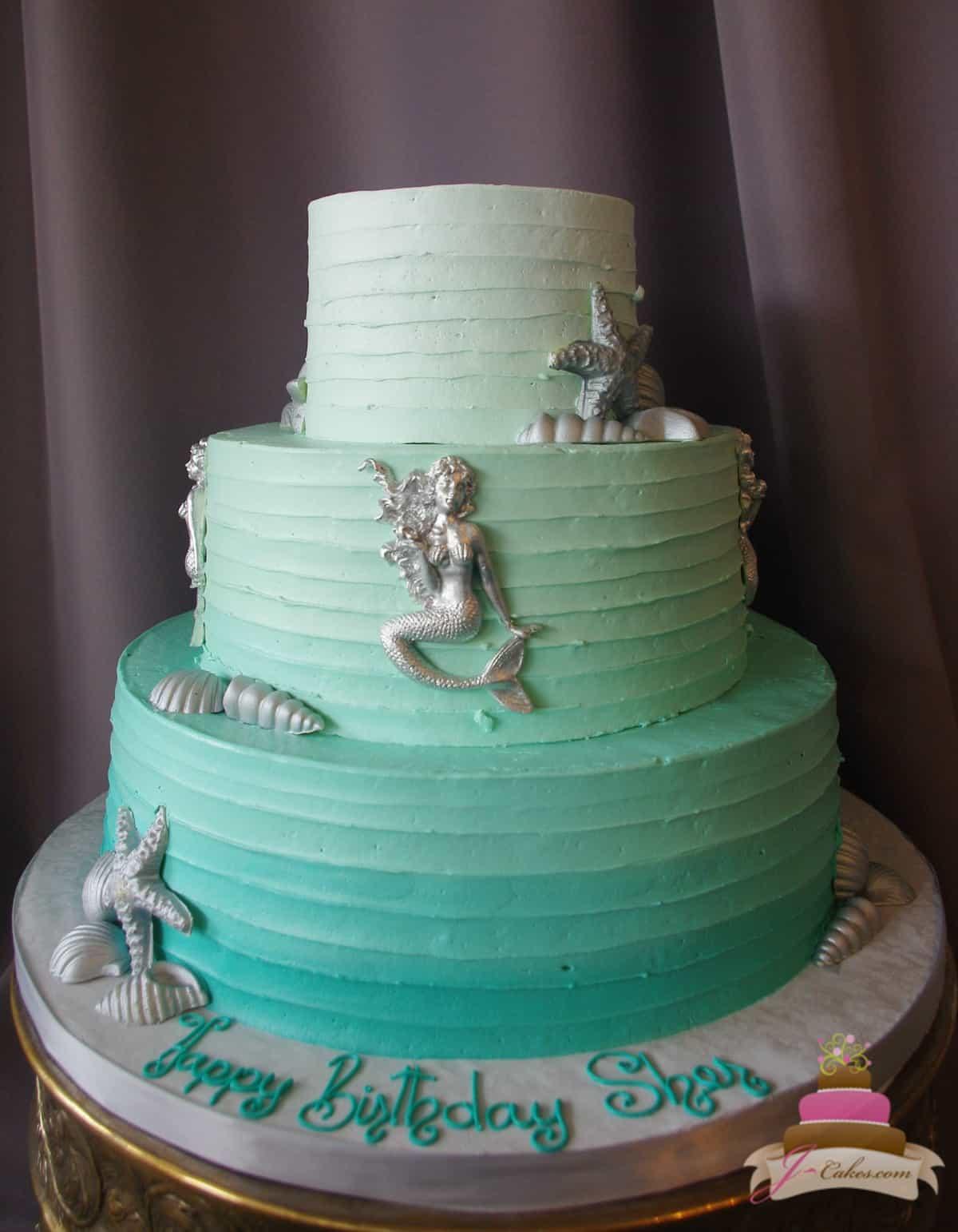 (179) Elegant Mermaid Birthday Cake