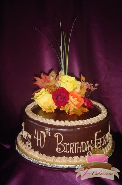 (103) Autumn Theme 40th Birthday Cake