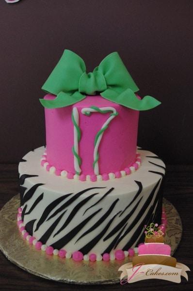 (108) Zebra Print 17th Birthday Cake