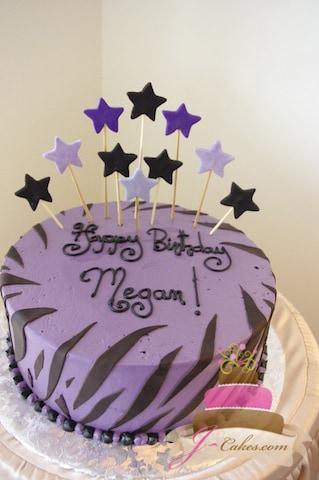 (112) Zebra Print Birthday Cake with Stars