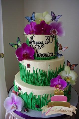 (121) Garden Theme 30th Birthday Cake