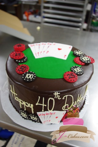 (122) Poker Table 40th Birthday Cake