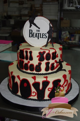 (123) Beatles Theme Birthday Cake
