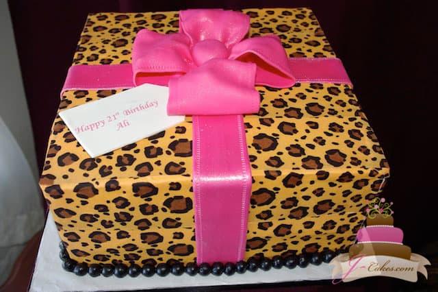 (133) Leopard Print Gift Box Birthday Cake